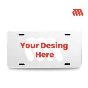 "Aluminum White License Plates 12"" x 6"" SUBLIMATED"